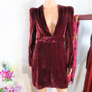 NEW! Express Wine Long Sleeve Deep V Velvet Mini